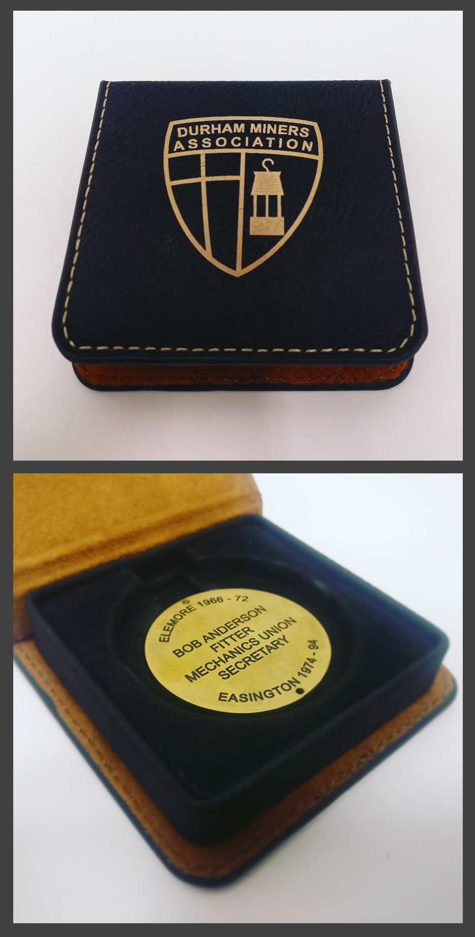 The engraved token complete with presentation case.